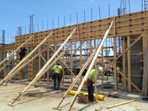 Commercial Bank Building, CIP beams forming